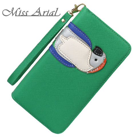 MISS ARIAL FASHION ZIPPER LONG STYLE STANDARD CUTE PARROT WOMAN HAND WALLET BIRD SIMULATION LADY PURSE COLORFUL OPTIONS