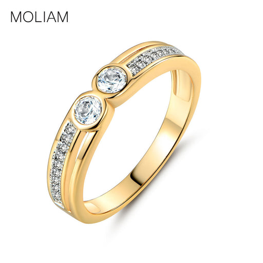 MOLIAM 2017 New Arrivals Engagement Ring for Girls Gold-Color Luxury Crystal Zirconia Rings Collection MLR250