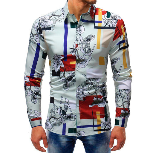 Man Fashion Printed Blouse  Slim Design Formal Casual Long Sleeve Slim Shirts Tops men dress shirts long sleeve Size M-5XL