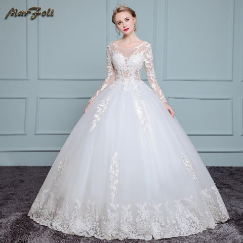 Marfoli Luxury High-end sleeved Wedding Dresses 2017 With lace Beads A-Line Custom Size Bridal Gown Vestidos De Noiva WD0031