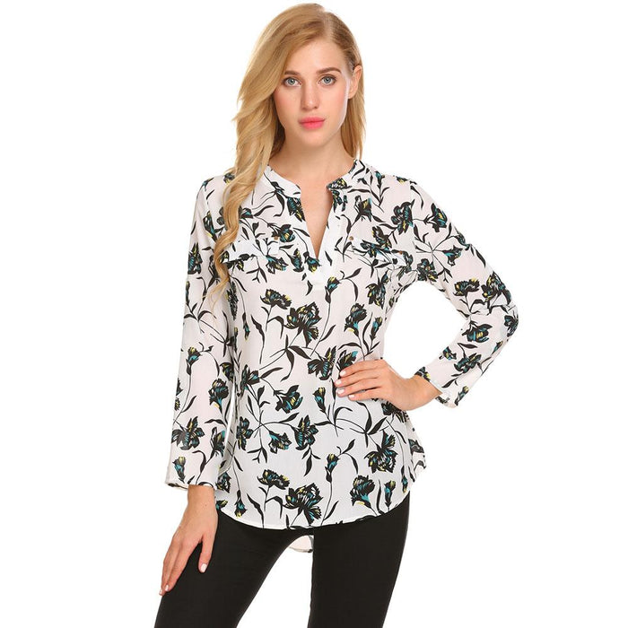 9b57a0bb Meaneor Vintage Blouses Women Roll-Up Cuffed Sleeve Shirts Floral Print  Asymmetrical Blouse Casual V