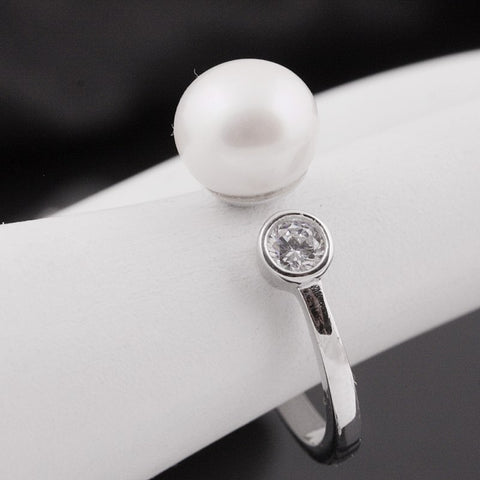 [MeiBaPJ]Real 925 sterling silver ring freshwater pearl classic simple ring for women charm accessaries for party Gift Box