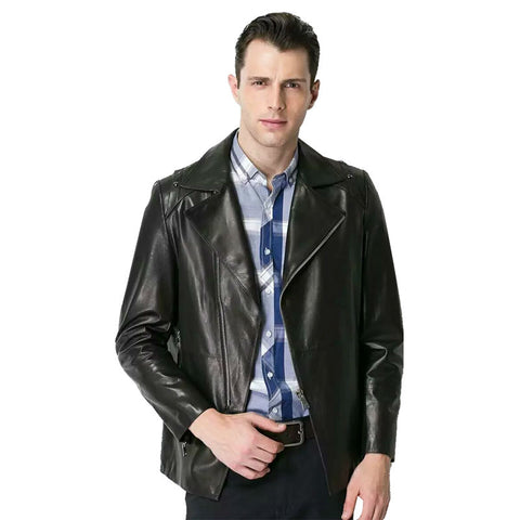 Men Genuine Leather Jacket Spring Haining Leather & Suede Fashion Men Real Leather Jacket deri ceket Jacket Genuine Leather