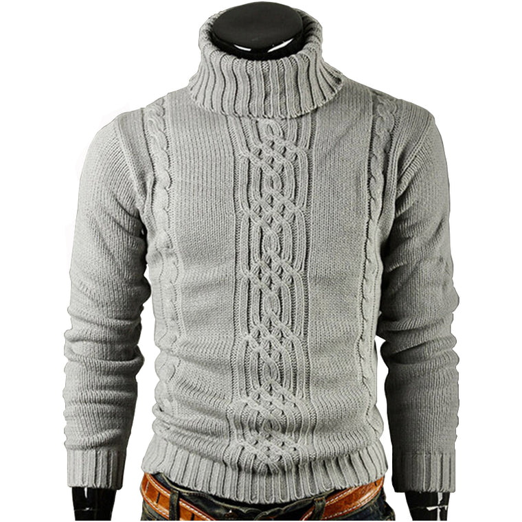 Men Sweater Pullover 2017 Warm winter Male Brand Casual Slim Sweaters Men Solid High Lapel Jacquard Hedging Men'S Sweater XXL