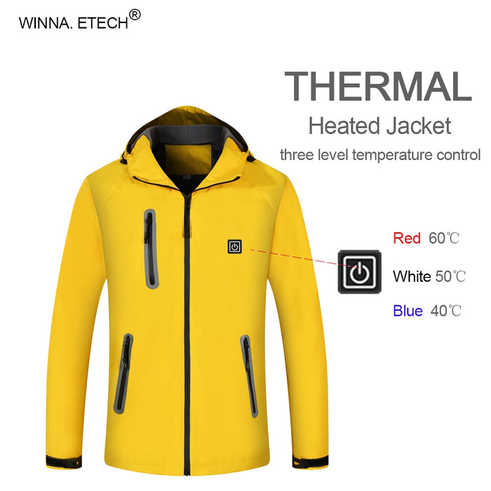 Men Women Fashion Electric Heated Jacket Waterproof Thermal Jacket Winter Warm Windproof Outdoor Hiking Camping Skiing Coat