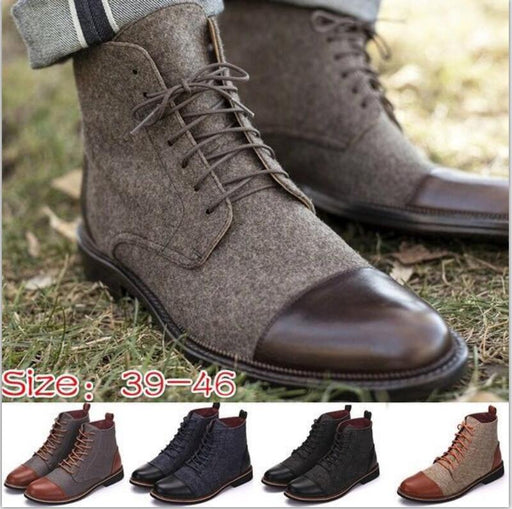 Men ankle boots winter casual lace up shoes booties oxfords gladiator patchwork sapato feminino chaussure size 38-46 TA0223