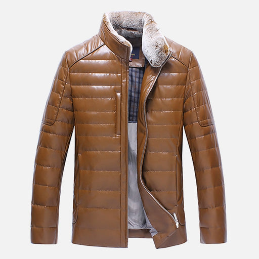 Men's Leather Down Jacket Winter Fur Collar Detachable PU Leather Jackets For Mens Warm Overcoat Casual Coats Leather Jackets