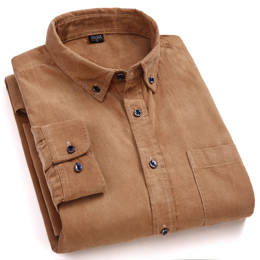 Men's Shirts Solid Cotton Corduroy Men Dress Shirts Casual Slim Fit Long Sleeve Classic Contrast Male Button Down Shirt