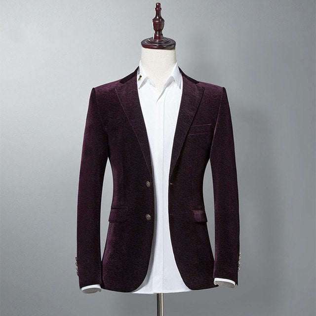 4e53e69bbac13 Mens Blazer High Quality Suit Jacket England Fashion Corduroy Blazer Male  Casual Jacket Single Breasted Plus