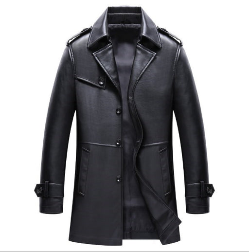 Mens Single Breasted Long Faux Leather Trench Coat Black Brown Business Casual Pu Leather Blazer For Men Spring Autumn Outwear