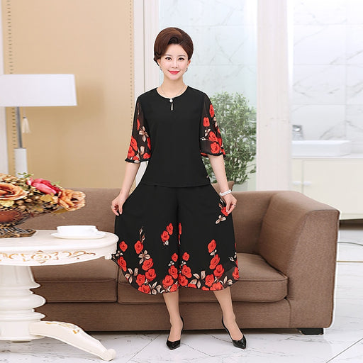 Middle Aged Women Summer Short Sleeve Chiffon Clothing Set Blouse Wide Leg Pants Dress Floral Printing 2 Pieces Set Plus Size