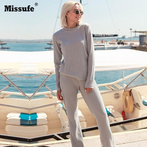 Missufe Women's Suit Slim Long Sleeve Flare Pants Two Piece Sets Casual Autumn Winter Knitted Women Set Outwear Wortout Lady