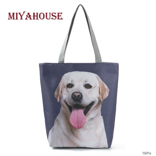 5cad1d6fe Miyahouse Dogs Print Tote Female Canvas Bag Cartoon Design Summer Beach Bags  For Female Daily Use