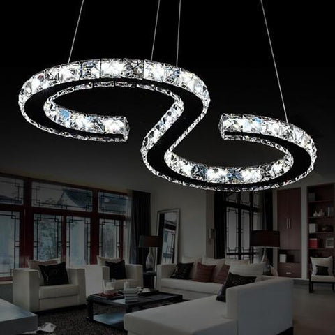 Modern Chrome Chandelier Crystals Diamond Ring 24W LED Lamp Stainless Steel Hanging Light Fixtures Adjustable Cristal