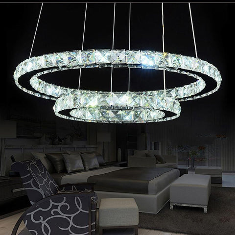 Modern Chrome Crystals Diamond Ring LED Lamp Stainless Steel Hanging Light Fixtures Adjustable Cristal LED Lustre