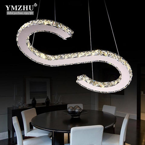 Modern Chrome chandelier crystal diamond ring leds stainless steel dining room lamps and lanterns of lamps and lanterns