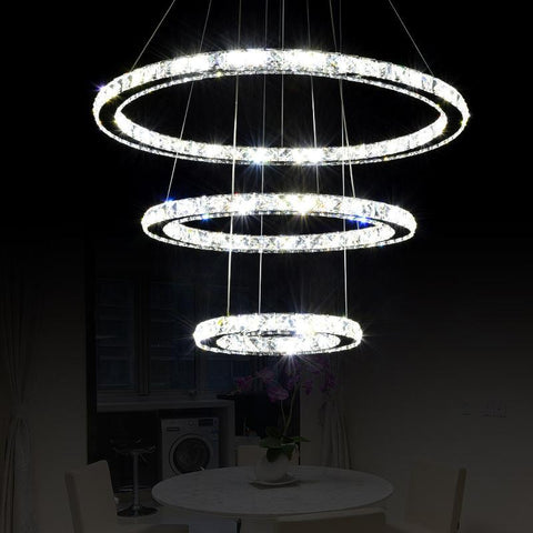 Modern Crystal Pendant Light Circle Suspension K9 Crystal Circle Ring Cord Suspension Hanging Lamp Diamond Ring LED light