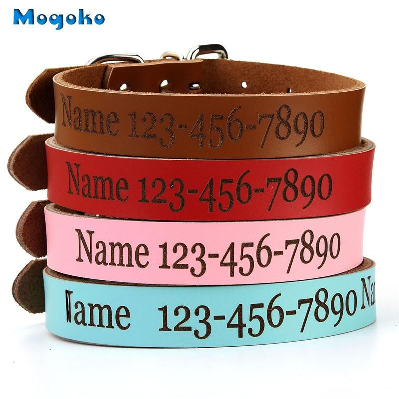 a7bc776602c6 Mogoko 1x Leather Personalized Dog Puppy Collars Custom Cat Pet Name Phone ID  Collar Free Engraving