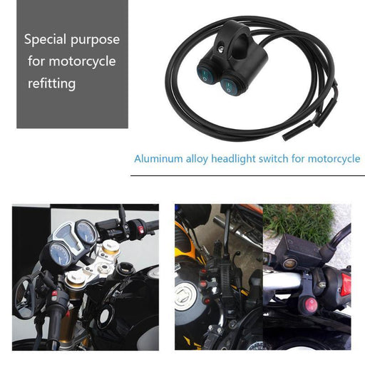 Motorcycle Handlebar Switch 12V Dual 7/8in Aluminum Motorcycle Handlebar On/Off Switch for Headlight Lamp Controller Promotion
