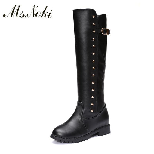 Ms Noki Square heel Warm inside leather boots Mid-Calf long boots square toe low heels spring autumn women boots fashion Women