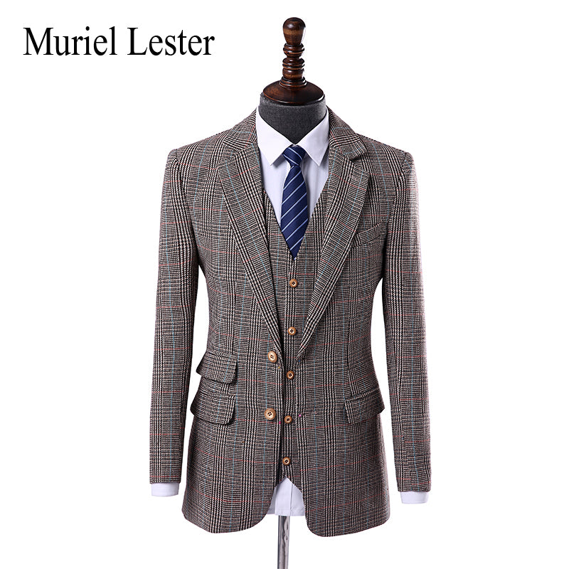1b2325fcc9 Muriel Lester Wool Classic Tweed custom made slim fit mens 3 piece suits  England Style tailor