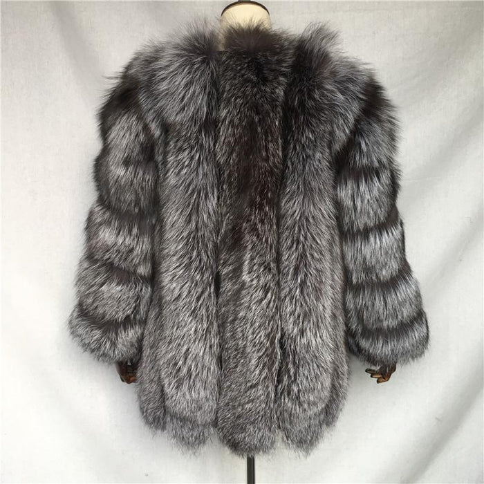 a1557c097 NEW Winter Natural Silver Fox Fur Coats Long Women Whole Skin Genuine  Leather Female Jacket in