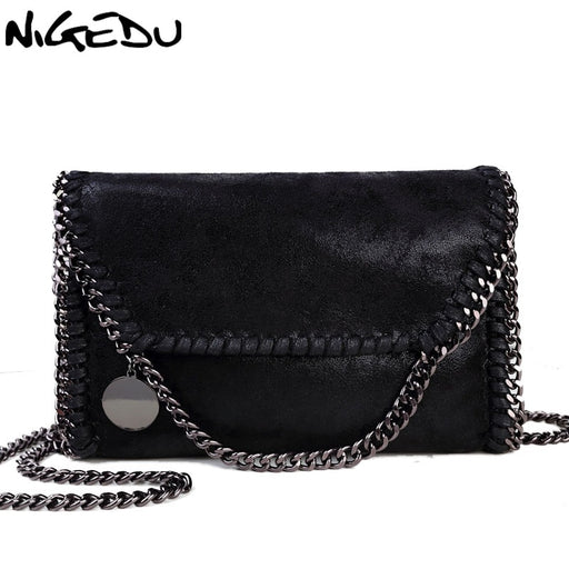 NIGEDU Fashion Womens design Chain Detail Cross Body Bag Ladies Shoulder bag clutch bag bolsa franja luxury evening bags