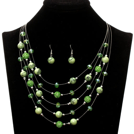 Natural Stone Beads Jewelry Sets for Women Multi-layer Royal Green Statement Choker Necklace Set Dangle Earrings Wedding