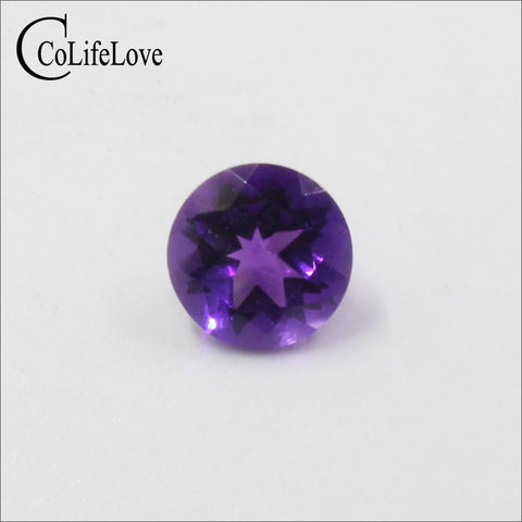 Natural round cut amethyst loose gemstone 7 mm 1.2 ct cut real amethyst loose stone for engagement ring