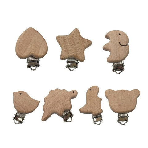 New 1 pc Baby Pacifier Clip Natural Beech Wood