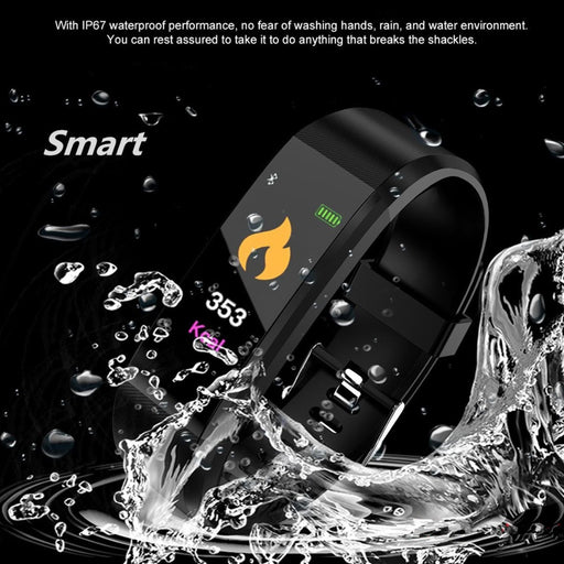 New 115 PLU Waterproof Sports Smart Watch Men Women Heart Rate Fitness Tracker Smart Wristbands For Android IOS Smart Bracelets