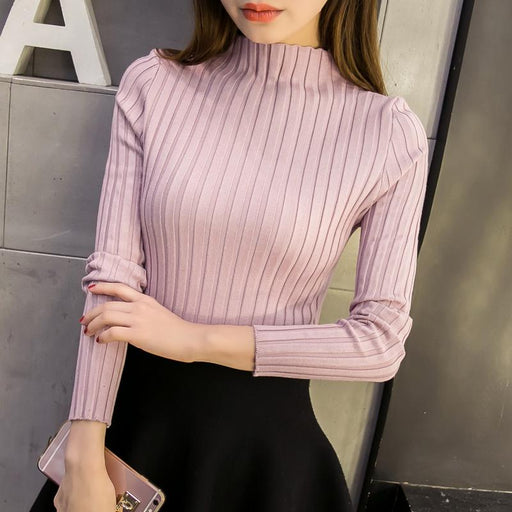 New 2018 spring winter women ladies slim fitting knitted turtleneck sweater top femme korean pullover clothes