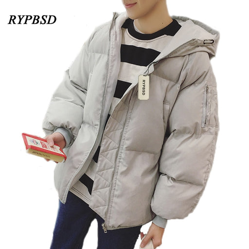 New 2019 Solid Color Korean Winter Coat Men Cotton Men Padded Jacket Thick Youth Zipper Warm Hooded Men's Down Jackets