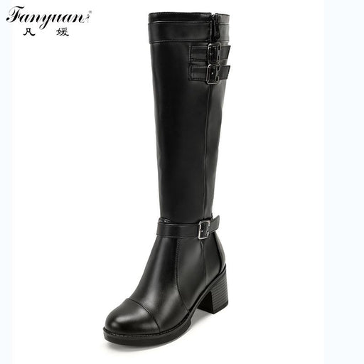 New Arrival 2017 Women Autumn Riding Equestrian Mid-Calf Boots Side Zip with Buckles Square Heel Women Round Toe Mid-Calf Boots
