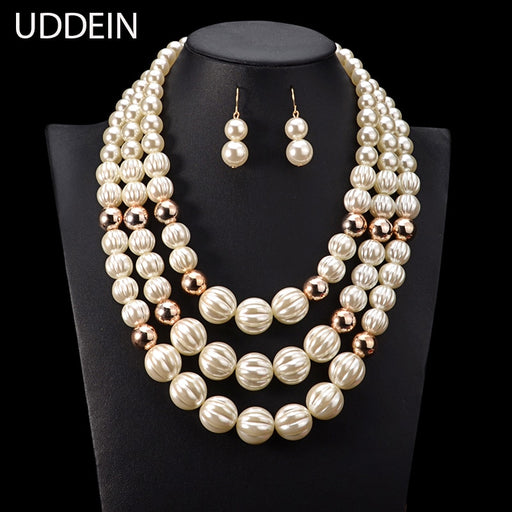 New Arrival Bridal Wedding Pearl Jewelry Sets Multi layer Beads Necklace For women Handmade Statement African Beads Jewelry set