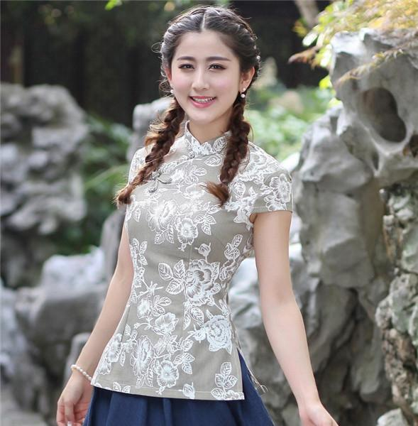 942b04e16b New Arrival Chinese Women s Cotton Linen Shirt Traditional Mandarin Collar  Blouse Print Flower Tops M L XL
