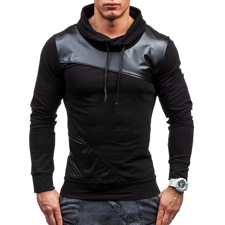 New Brand Sweater Male 2017 Stitching Fashion Mens Sweater Slim Cotton Men Sweater Thin Pullover Tracksuit 4XL