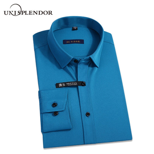 New Classic Bamboo Fiber Men Dress Shirt Solid Color Man's Social Shirts Office Wear Easy Care Regular Fit Male Outwears YN10227