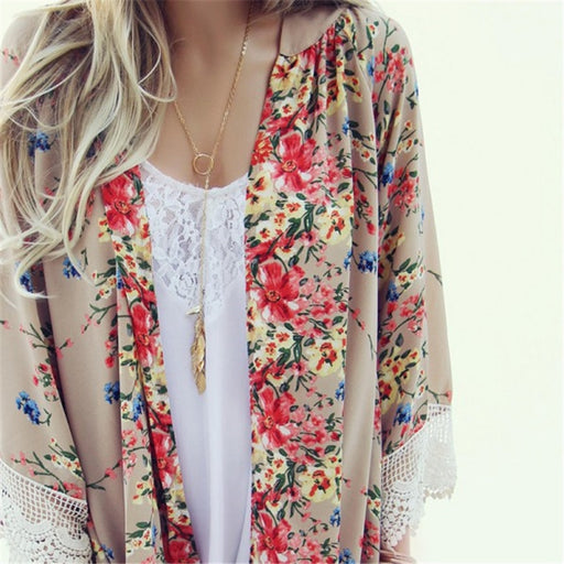 New For Vintage Women Kimono Floral Loose Jacket Coat Cardigan Lace Chiffon Blouse Tops