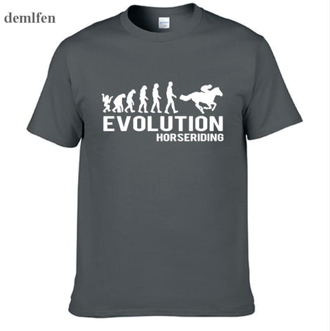 New Men's Cotton T Shirt Evolution Horse Riding Horses Equestrian Tshirt O-Neck Short-Sleeve Men T-shirt Tees