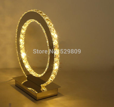 New Modern Round Crystal Led Table Lamp Diamond Ring Desk Light Beside Lighting Free Shipping Dia19*h23cm Lamps For Home