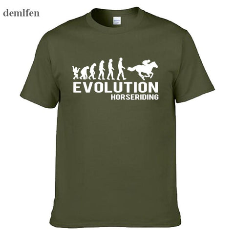 New Personalized T Shirt Custom T Shirt  Evolution Horse Riding Horses Equestrian Fun O-Neck Short-Sleeve Men T-shirt Tees