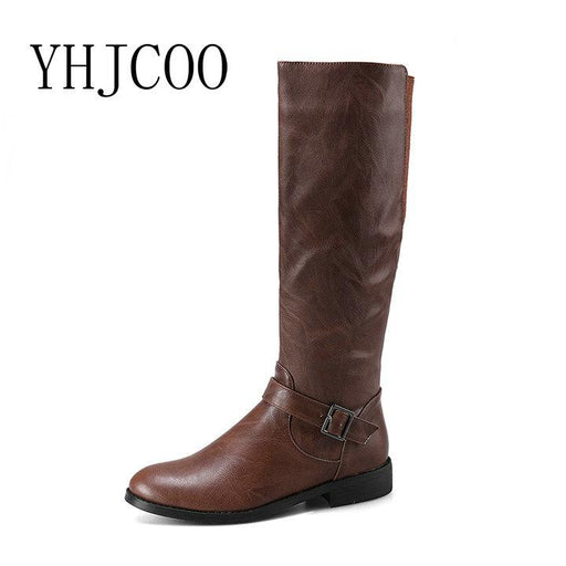 b236114ef81 New Quality Women Riding Equestrian Motorcycle Boots Low heel Knee-High  Boots Women Fashion Black