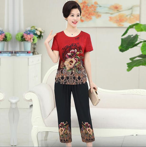 New arrival summer women's two pieces silk suits elegant floral satin silk blouse shirt with pants