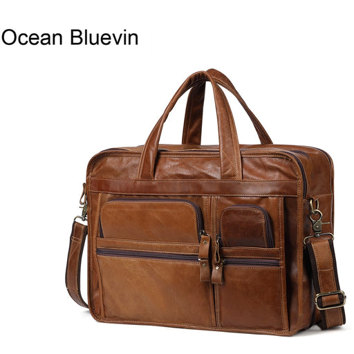 OCEAN BLUEVIN Genuine Leather Men Briefcases Casual Business Bags Tote Bag Large Handbags Shoulder Bags Crossbody Bag Men Gift