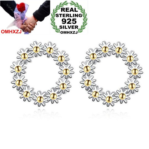 OMHXZJ Wholesale Simple Sweet Fashion OL Woman Lady Wedding Gift Golden Sunflower wreath 925 Sterling Silver Stud Earrings YS372