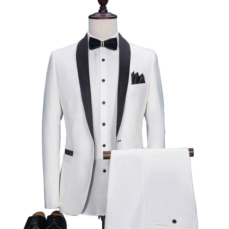 OSCN7 White Suit Men Slim Fit Shawl Lapel Wedding Dress Suits for Men
