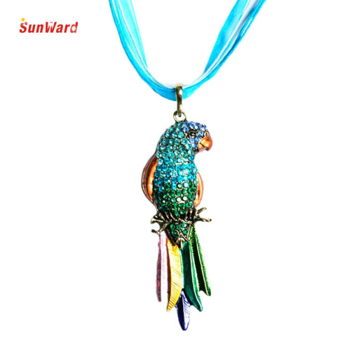 OTOKY Colorful Parrot Exquisite Enamel Crystal Parrot Pendant k574 Alloy+Rhinestone Long Sweater Necklace 1PC