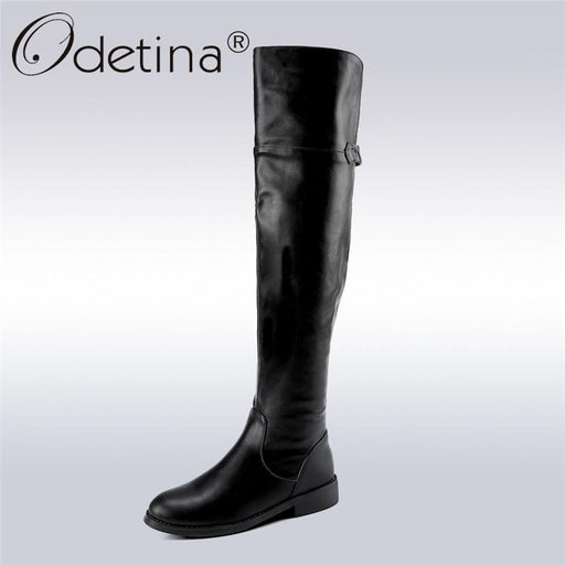 Odetina 2017 New Fashion Riding Boots For Women Thigh High Boots For Plus Size Over The Knee Boots Square Low Heels Winter Shoes