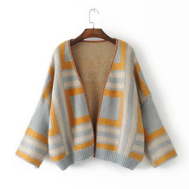 Onlyoung 2018 Autumn Winter Oversized Women Knitted Cardigan Knitting Outwear Geometric Print Female Sweater Cardigan Coat